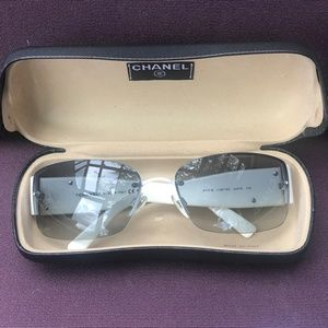 CHANEL Crystal CC Logo Sunglasses 4117 B White